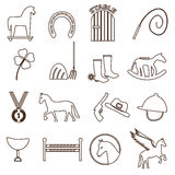Brown simple horse theme outline icons set eps10 Royalty Free Stock Photo