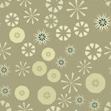 Brown Simple Seamless Pattern For Design. Vector Background With Geometric Stars And Flowers. Circular Colorful Texture Royalty Free Stock Photos