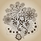 Brown Sketch Art Object on Beige royalty free illustration