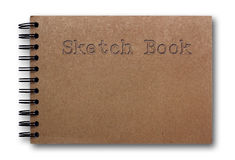 Brown sketch book isolated on white background. Cover of sketch book on white background Royalty Free Stock Images