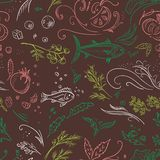 Brown sketch food pattern Royalty Free Stock Image