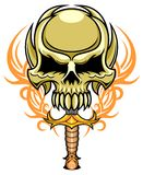 Brown skull with dagger Royalty Free Stock Image
