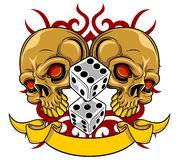 Brown skull with dice Stock Image