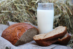 Brown sliced bread and milk on hay Stock Image