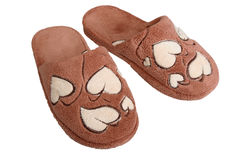 Brown slippers. Stock Images