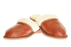 Brown slippers isolated on a white background. Royalty Free Stock Photography