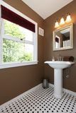 Brown small bathroom with antique sink and tiles. Stock Image