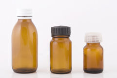 Brown small bottles Royalty Free Stock Photography