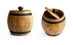 Brown small wooden barrel Stock Images