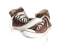 Brown sneakers. Isolated on white background Stock Images