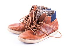 Brown sneakers close up. On wood. fashion footwear Royalty Free Stock Image