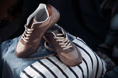 Brown sneakers, men's shoes Royalty Free Stock Image