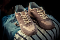 Brown sneakers, men's shoes Stock Images