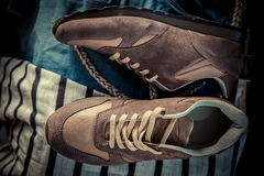 Brown sneakers, men's shoes Royalty Free Stock Photos