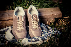 Brown sneakers, men's shoes Stock Photography