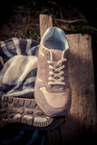 Brown sneakers, men's shoes Royalty Free Stock Photography