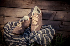 Brown sneakers, men's shoes Stock Photo