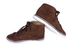 Brown sneakers Stock Photos