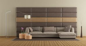 Brown sofa against leather panels vector illustration