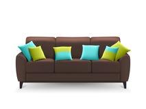 Brown Sofa With Decorative Cushions realista Fotos de archivo libres de regalías