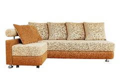 Brown sofa with fabric upholstery isolated Royalty Free Stock Images