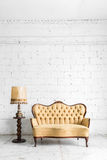 Brown sofa with lamp Stock Image