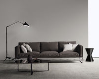Brown sofa in a modern contemporary living room. Rendering of a Brown sofa in a modern contemporary living room Stock Photography