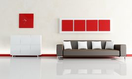Brown sofa in a modern living room Stock Images