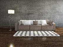 Brown sofa near the wall. Brown sofa with pillows near the concrete wall Stock Photos