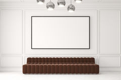 Brown sofa and a poster. Long brown sofa is standing in an empty room with white walls. A large horizontal poste is hanging above it. 3d rendering, mock up Royalty Free Stock Image