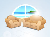 Brown sofa set on nature background. Stock Images