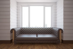 Brown sofa in white room. Luxurious brown leather sofa in white interior with wooden floor and window with city view. 3D Rendering Stock Photography