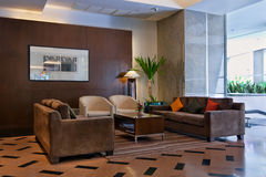 Brown sofas the lobby stock photos