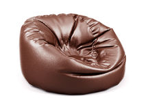 Brown soft leather beanbag  Stock Images