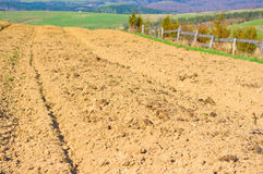 Brown soil of an agricultural field. In the mountains stock images