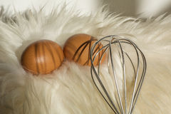 Brown speckled eggs with whisk on the white fur. Like nest Royalty Free Stock Photos