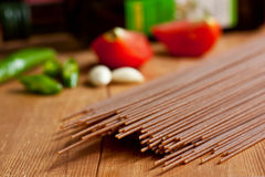 Brown spelt spaghetti Royalty Free Stock Photography