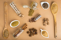 Brown spices on a brown background Royalty Free Stock Photography