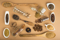 Brown spices on a brown background Royalty Free Stock Images