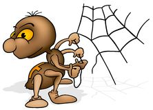 Brown Spider. Highly detailed cartoon illustration as vector image Stock Photos