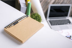 Brown spiral notepad Stock Image