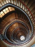 Brown Spiral Stairs Royalty Free Stock Images