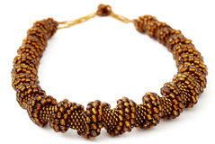 Brown Spiralling Beaded Neckwear, Traditionally African Stock Photography
