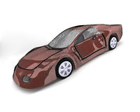 Brown sport car .3D image. Royalty Free Stock Photography