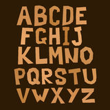 Brown square alphabet Stock Photos
