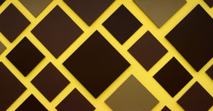 Brown square box on yellow background Royalty Free Stock Image