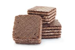 Brown square wafers on white Stock Image