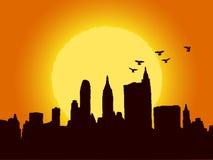 Brown-Stadt im Sonnenaufgang lizenzfreie abbildung