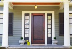Brown stained Front Door Stock Photography
