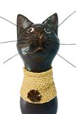 Brown statuette of the cat isolated Stock Photo